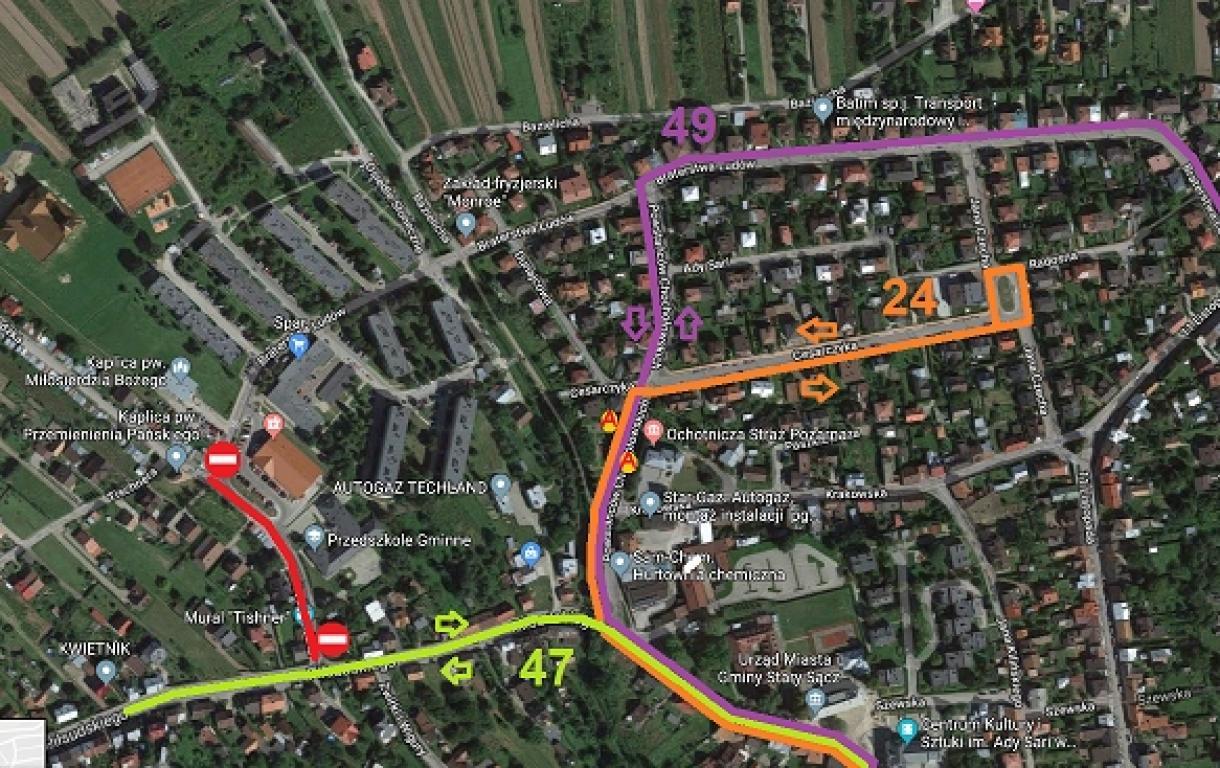 UWAGA! Od poniedziałku zamknięty odcinek ul. Podegrodzkiej i zmiana trasy przejazdu autobusów MPK.
