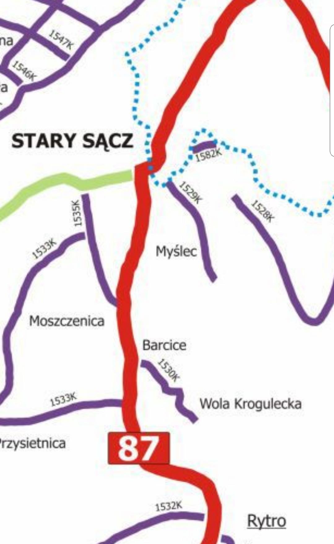 Remont drogi Nowy Sącz - Myślec